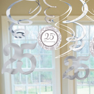 Silver Anniversary Value Pack Swirl Decorations (12)