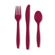 Burgundy Cutlery Set (24)