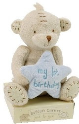 Cute Button Bear My 1st Birthday Blue