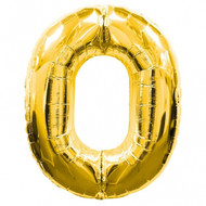 Number 0 Gold SuperShape Foil Balloon