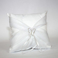 Butterfly Satin Ring Pillow with organza sash - White