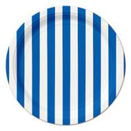 Navy Blue Striped Dessert Plates (8)