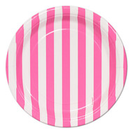 Hot pink Striped Dessert Plates (8)