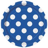Navy Blue Big Polka Dot Dessert Plates (8)