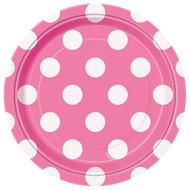 Pink Big Polka Dot Dessert Plates (8)