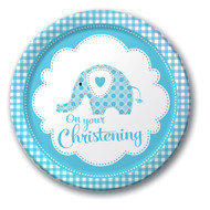 Boy Christening Elephant Dinner Party Plates (8)