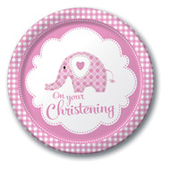 Girl Christening Elephant Dinner Party Plates (8)
