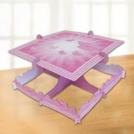 Christening Pink Booties Square Cake Stand