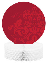 40th Red Scroll Honeycomb Table Centerpiece