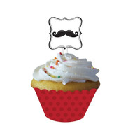 Moustache Madness Cupcake wrappers with Picks (12)