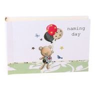 Naming Day Guest Album with Teddy Bear and Balloons