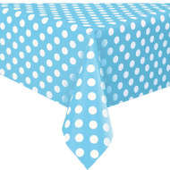 Powder Blue Big Dots Plastic Tablecover (54inx108in)