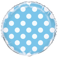 Powder Blue Big Dots Foil Balloon (18in)