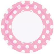 "Powder Pink Big Dots 9"" Plates (8)"