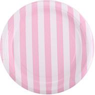 Powder Pink Striped Dessert Plates (8)