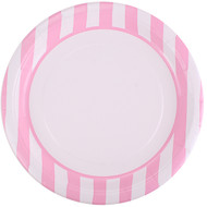 Powder Pink Striped Lunch Plates (8)