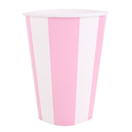 Powder Pink Striped  Cups (8)