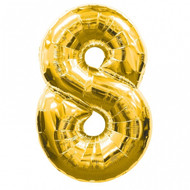 Large Number 8 Foil Balloon Gold (34in)