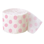 Powder Pink Big Dots Crepe Streamer (30ft)