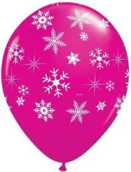 Snowflake Pink Latex Balloons (5)