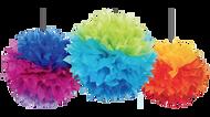 Rainbow Fluffy Pom Pom Decorations (3)