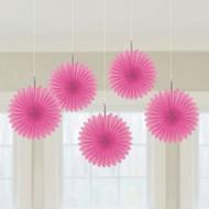 Mini Hot Pink Hanging Fan Decorations (3)