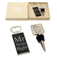 Mr and Mrs Wine Bottle Opener/Stopper Set