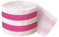 Powder Hot Pink Striped Crepe Streamer (30ft)