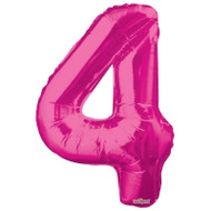 Magenta Number 4 Air-Filled Foil Balloon (14inch)
