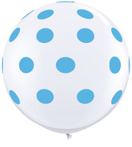 Polka dot powder blue latex balloons (6)