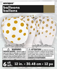 Gold polka dot latex balloons (6)
