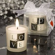 LOVE design black and white candles