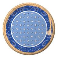 Blue Bandana Cowboy Dinner Plates (8)