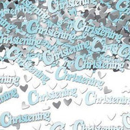 Happy Christening Metallic Confetti Blue
