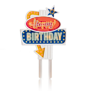 Flashing Neon LED Sign Birthday Cake Topper