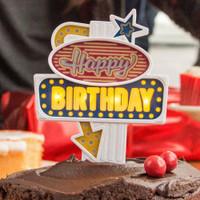 Flashing Neon LED Sign Birthday Cake Topper