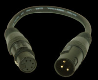 Accu Cable 3 Pin Male XLR to 5 Pin Female XLR Turnaround - AC3PM5PFM