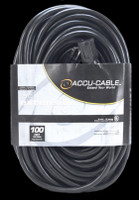 Accu Cable Black AC Grounded Extension Cord - 100 FT 12 Gauge