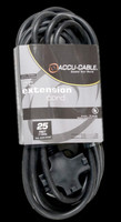 Accu Cable Black Extension Cord / Triple Tap - 25 FT 12 Gauge