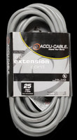 Accu Cable Gray AC Extension Cord - 25 FT 12 Gauge