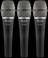 CAD D38 CADLive Supercardioid Instrument Microphones / 3-Pack