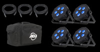 ADJ  Mega Flat Hex Pak LED RGBWA+UV Par Can Light Package