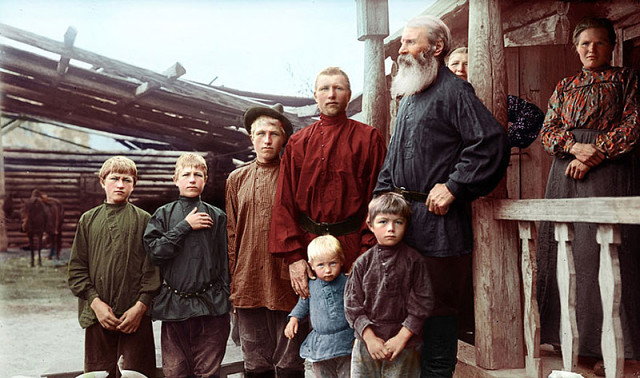 Russian Family in Yekaterinburg, late 19th century, circa 1884.