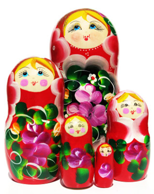 Amaryllis Red 5 Piece Nesting Doll
