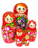 Matryona Small Red 5 Piece Babushka Doll
