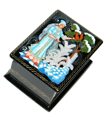Winter Forest Palekh Miniature Lacquer Box