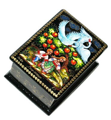 Swan-Geese Miniature Palekh Lacquer Box