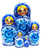 Gzhel 5 Piece Russian Nesting Doll Blue