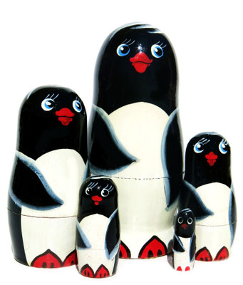 Penguins 5-Piece Black Russian Nesting Doll