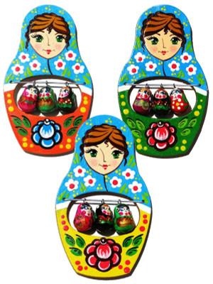 Matryoshka Wooden Refrigerator Magnet (Pack of 3)